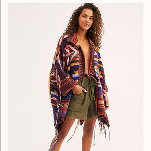 Free People Follow The Arrow Poncho Sweater M/L